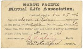 Postcard from North Pacific Mutual Life Association addressed to Sarah Ann Palmer