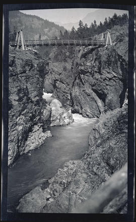 Man on footbridge near Ruby, Washington