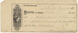 Receipt issued to Sarah Ann Palmer
