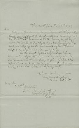 Copy of letter to James W. Denver