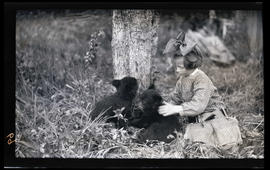 Phoebe Katherine Finley with bear cubs