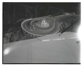Aerial view of Vista House and Crown Point Viaduct