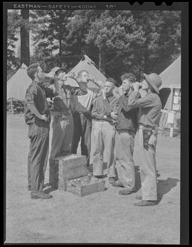 Soldiers drinking milk at Vancouver Barracks