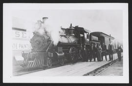SP&S Employees Stand Next to Locomotive, Seaside, Oregon