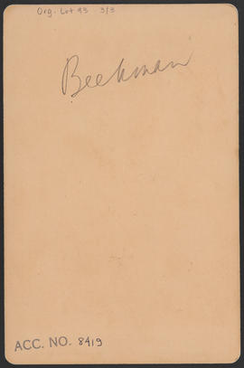 Verso of Young girl, Beekman family