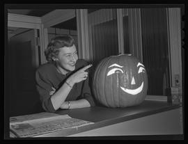 Kay Fralick and pumpkin