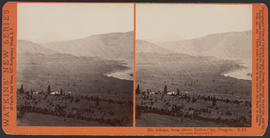 """Mt. Adams, from above Dalles City, Oregon. Columbia River Scenery."" (Stereograph E23)"
