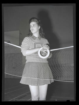 1942 Portland Rose Festival Princess Leona Kunce, posing in gym