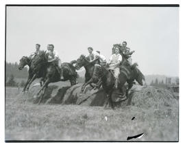 Horses jumping over mound of grass