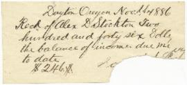 Receipt of money from Alex D. Stockton
