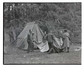 Civilian Conservation Corps workers pitching tent at Toll Gate camp near Rhododendron, Oregon