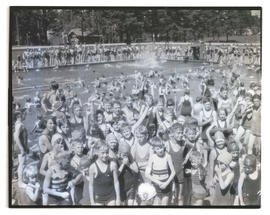 Crowd of children at swimming pool