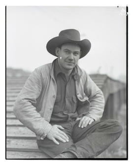 Ken Hargis?, three-quarters portrait, probably at Pacific International Livestock Exposition