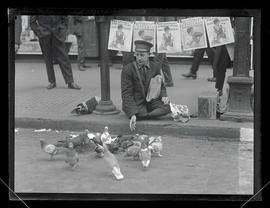 Joe Harty, news vendor, at Washington and Broadway, Portland