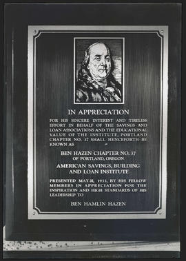 Plaque in honor of Ben Hamlin Hazen from American Savings, Building, and Loan Institute