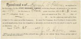 Receipt to Sarah Ann Palmer from State Insurance Copmany
