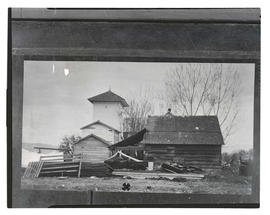 Photograph of unidentified buildings, probably in rural area