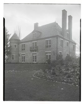Unidentified brick building with turret