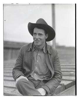 Paul Carney, three-quarters portrait, probably at Pacific International Livestock Exposition