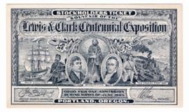 Lewis and Clark Centennial Exposition stockholders ticket