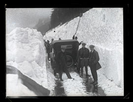 Men and car on Columbia River Highway? in winter