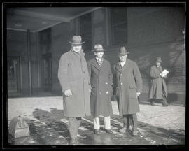 George L. Baker, Charles Wakefield Cadman, and Frank C. Riggs at Union Station, Portland