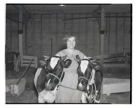 Unidentified young woman with two cows, probably at Pacific International Livestock Exposition