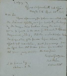 Copy of letter to L.F. Grover on omission to sign certain papers in Rogue River war claim