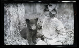 Phoebe Katherine Finley with a bear cub