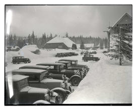 Hill's Place and Battle Axe Inn recreation hall during winter in Government Camp, Oregon