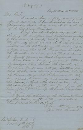 Copy of letter regarding treaty negotiations with the Umpqua and Calapooia Indians
