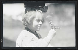 Phoebe Katherine Finley with an English Sparrow