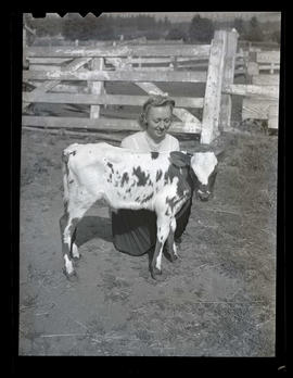 Bettylou Bisch with calf