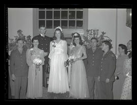 Miss Marylhurst and attendants at Marylhurst College spring formal, 1944