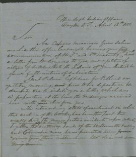 Letter from the Office of the Superintendent of Indian Affairs