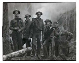 Civilian Conservation Corps crew? at work site in forest