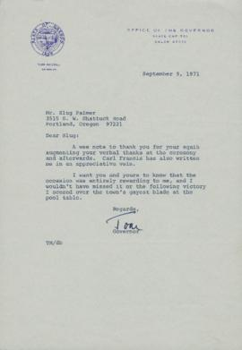 Letter from Governor Tom McCall to Omar C. Palmer