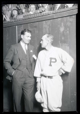 Jack Dempsey and unidentified man in Portland Beavers uniform