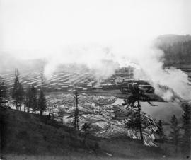 Okanogan lumber mill.  First panel of two panel panorama