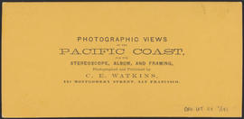 "Verso of, ""View on the Columbia, O.R.R. Cascades, Columbia River."" (Stereograph 1300)"