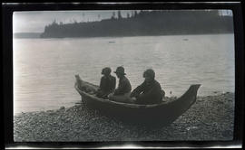 Brownie Pack, Irene Finley, and Phoebe Finley in a canoe