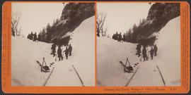 """Clearing the Track, Winter of 1884-5, Oregon. Columbia River Scenery"" (Stereograph E35)"