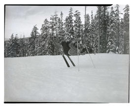 Skier performing backflip