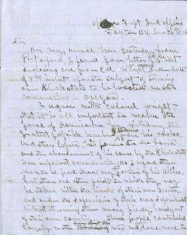 Letter from Joel Palmer regarding correspondence with Col. Wright