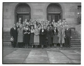 Linfield College group outside Multnomah County Central Library, Portland