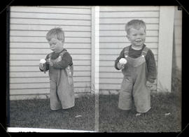 Unidentified young boy with ice cream cone, two full-length portraits