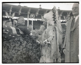 Franklin D. Roosevelt and Chief Jobe Colwash shaking hands at Western Washington state fair