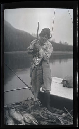 Irene Finley with salmon