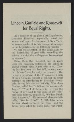 Lincoln, Garfield, and Roosevelt for Equal Rights
