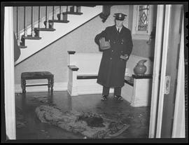 Crime scene at murder of Mrs. Irene Cahill, suicide of Johan Wallin, with Patrolman Elmo Bryant